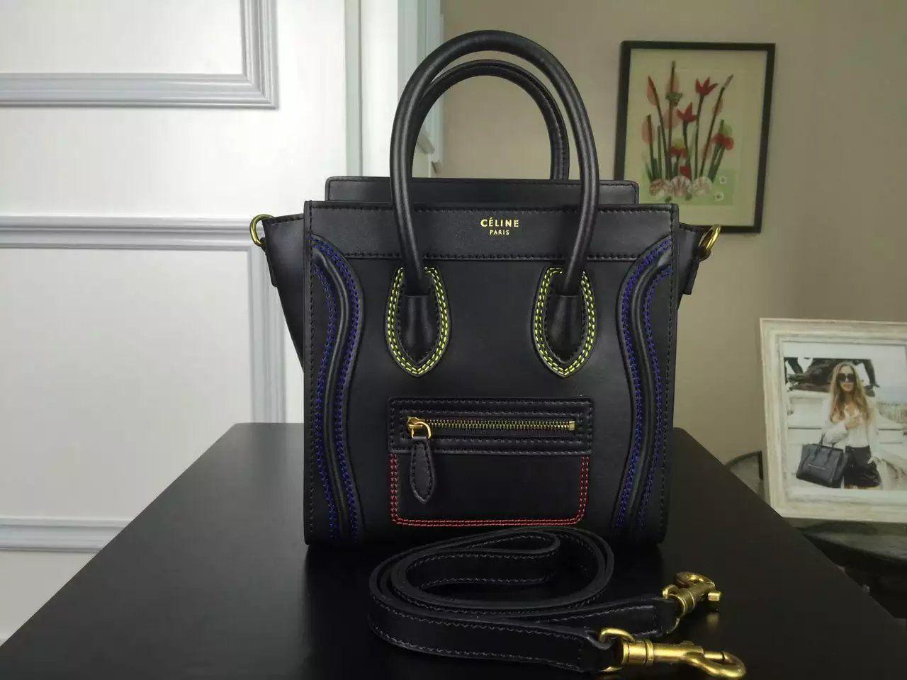 Authentic Quality 1 1 Mirror Replica Celine Multi Color Double Stitching  Nano Luggage Bag Black 177923ADG.38NO 78e54b1529646