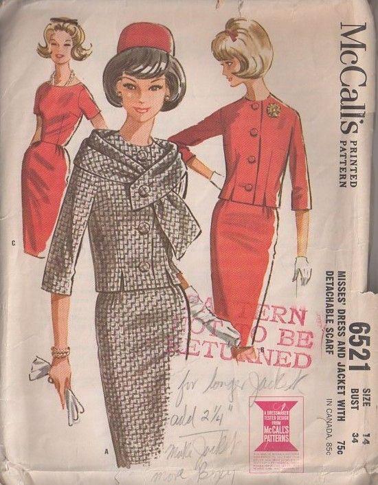 MOMSPatterns Vintage Sewing Patterns - McCall\'s 6521 Vintage 60\'s ...