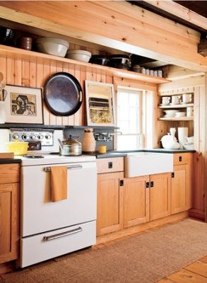 Cabin Kitchen. Looks like this window goes down behind the counter