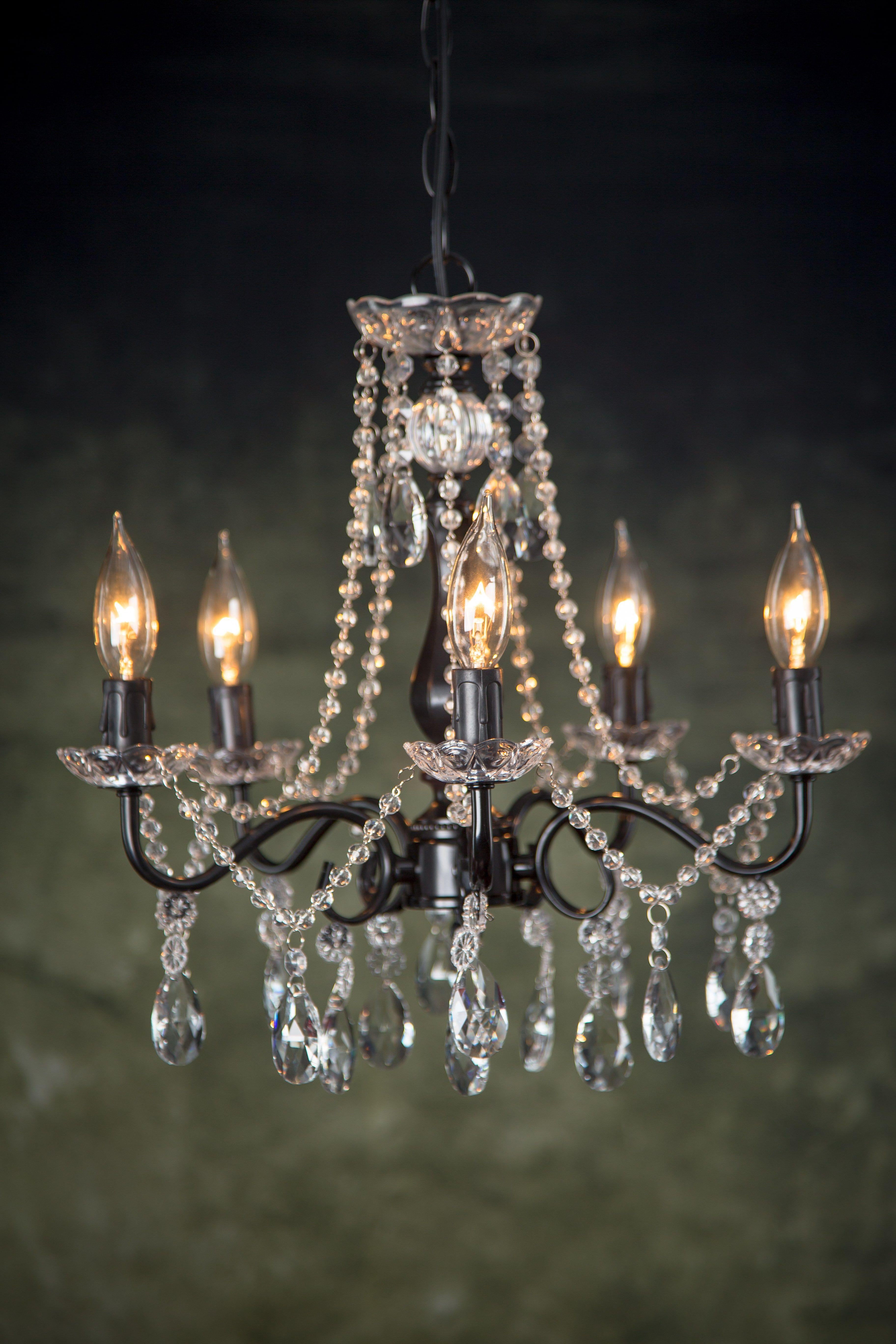 5 Light Swoop Arm Crystal Plug In Chandelier Black