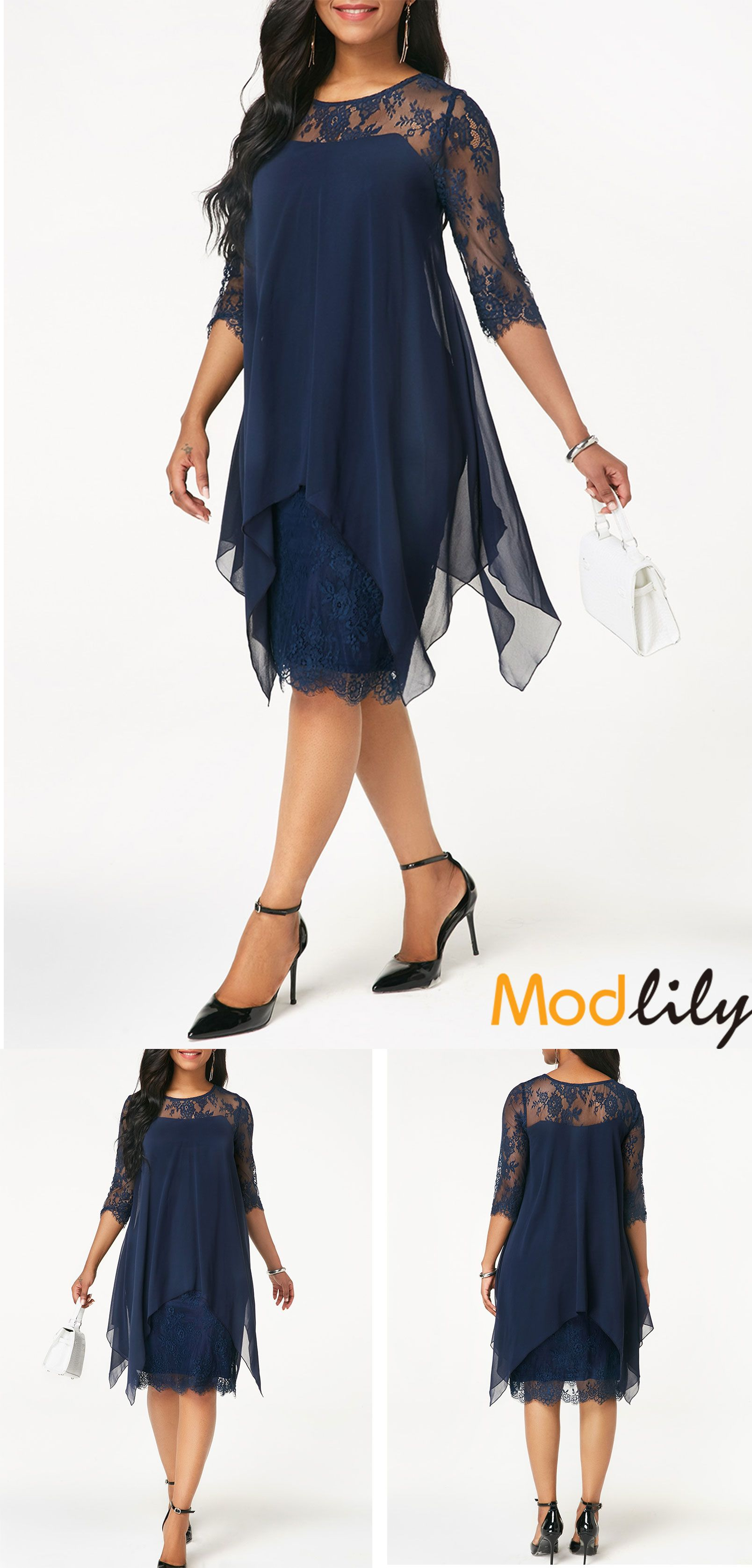 Lace dress navy  Navy Three Quarter Sleeve Chiffon Overlay Lace Dress  Dresses
