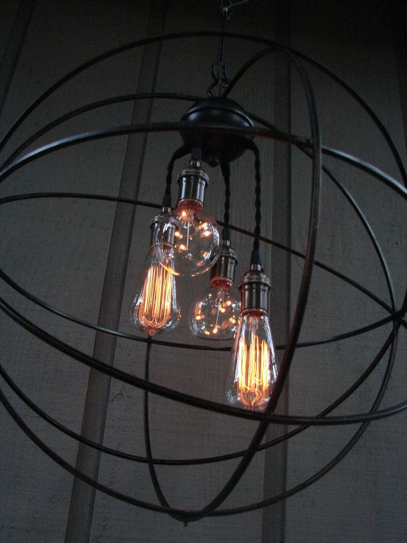 Upcycled Orbital Chandelier with Filament Edison by BenclifDesigns, $475.00