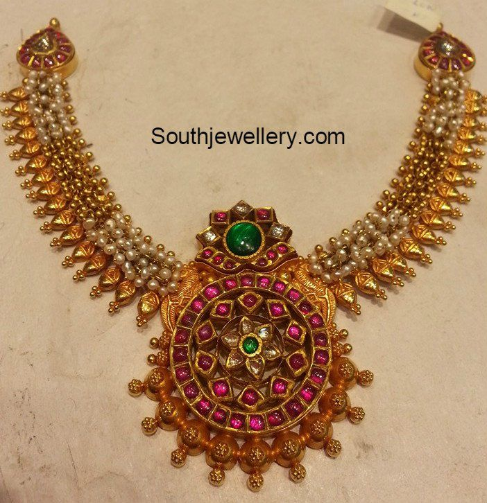 nakshi kasu with jewellery antique necklace ruby latest gold pendant