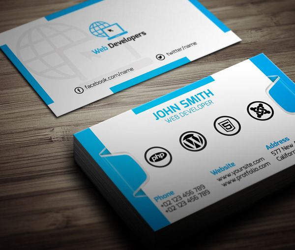 Free Web Developer Business Card Psd Template Free Psd Graphics