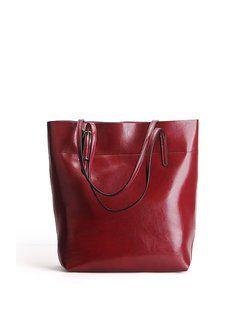 Crimson Medium Cowhide Leather Simple Tote