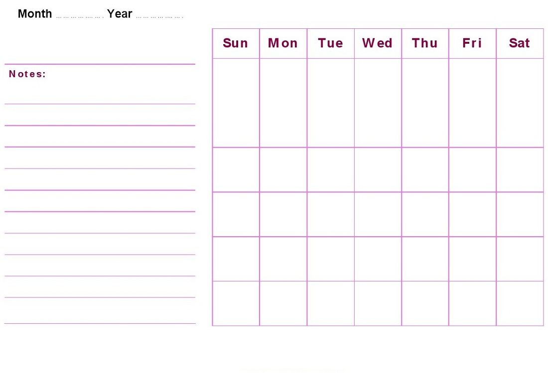 Printable Blank Monthly Calendar | Activity Shelter | Calendar ...