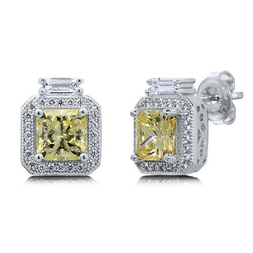 Princess Canary Cubic Zirconia CZ Sterling Silver Halo Stud Earrings from Berricle - Price: $72.99