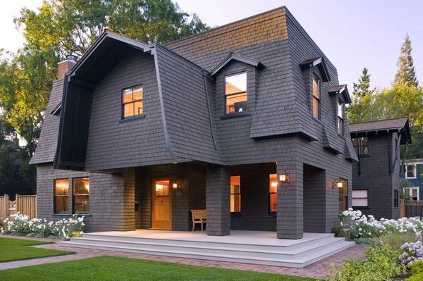 Modern house exterior mansard style roof ideas attic for Mansard roof pros and cons