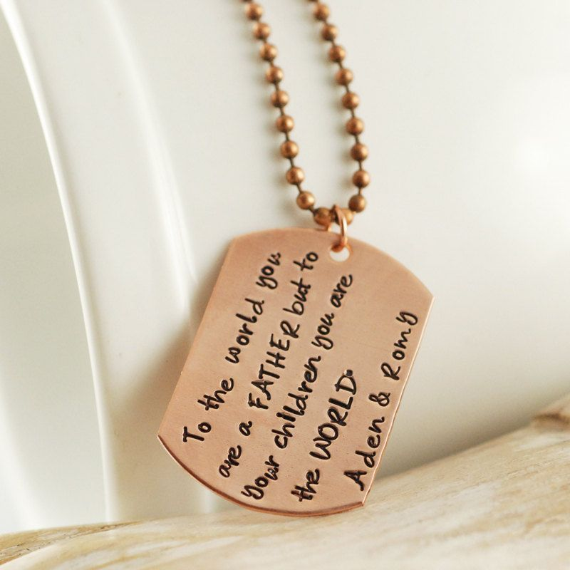 Copper Hand Stamped Mens Necklace Personalized Dog Tag Necklace