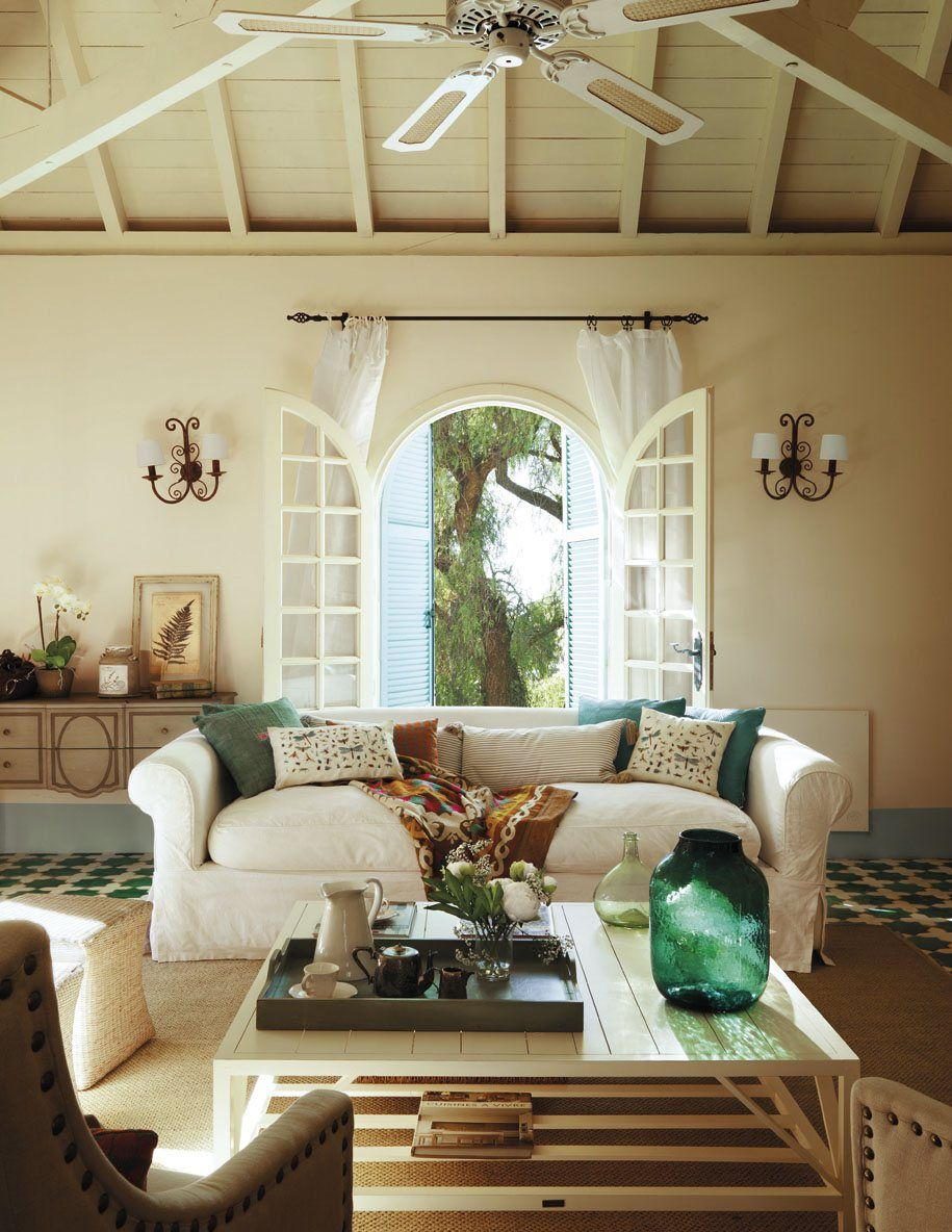Arched French Doors White Living Room And The Jade Green Accents