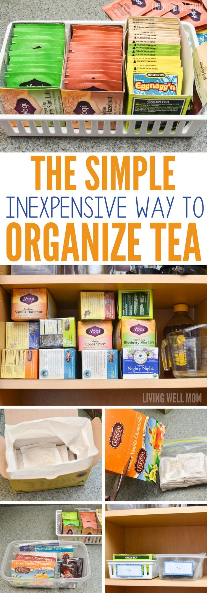 The Simple, Inexpensive Way to Organize Tea | Cupboard, Organizing ...