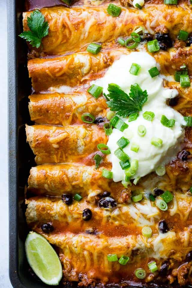 Ground Turkey Black Bean Enchiladas | Easy Ground Turkey Recipe