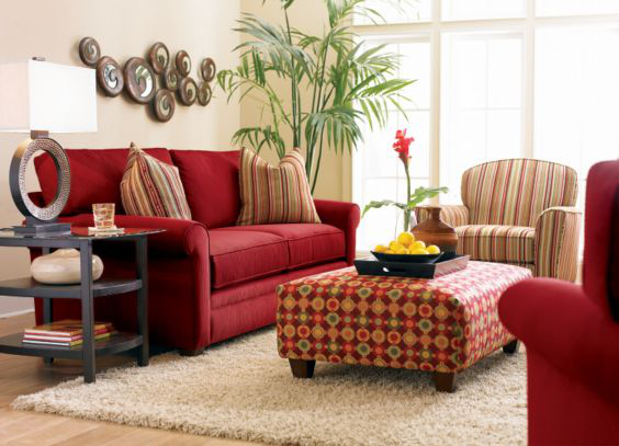 Design Inspiration For A Small Multi Purpose Space A Little Claireification Red Sofa Decorating Red Sofa Living Room Red Couch Decor