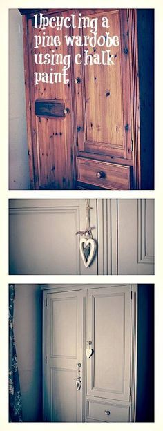 I Up cycled our solid pine wardrobe over a couple of days using chalk paint from Frenchic see the before and after photos here