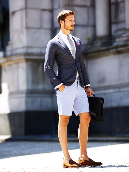 Light Summer Suit with Shorts and Cognac Loafers.   Summer ...