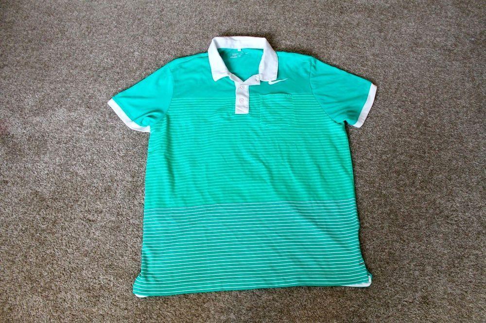 Nike Golf Sport Mens Green Polo Shirt Dri Fit Cotton Blend
