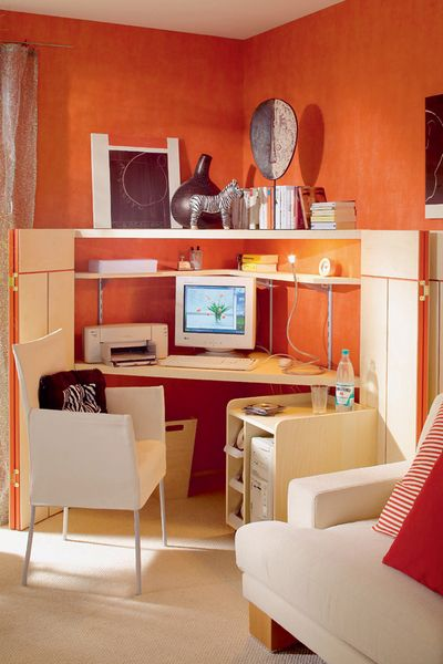 Orange Paint For Small Home Office With Light Wood Furniture