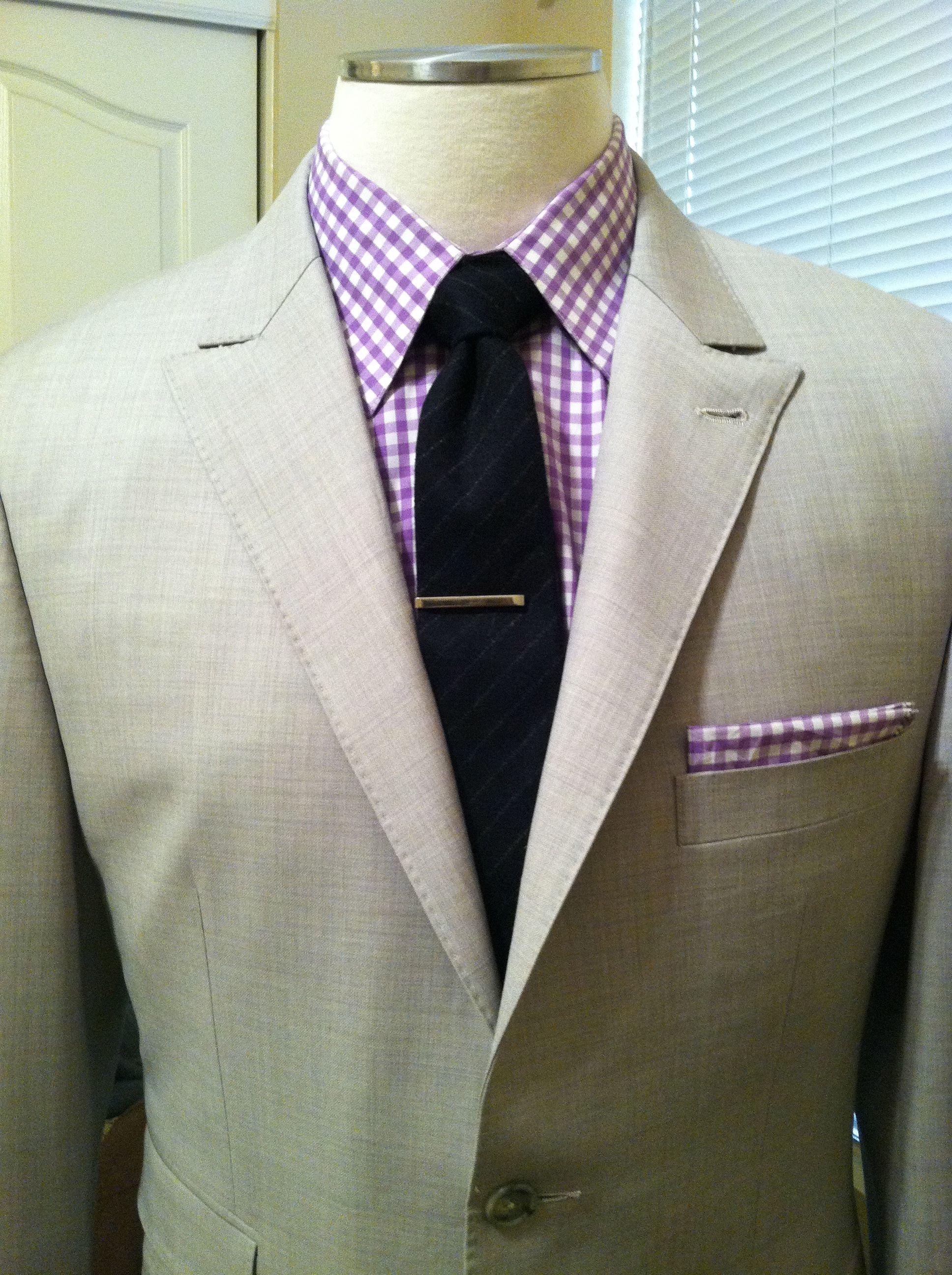 POCKET SQUARE Purple /& White Gingham Plaid Check Cotton