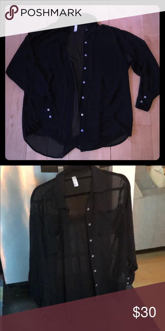 9bacbc45e American Apparel chiffon black blouse Black chiffon blouse. See  through-very cute with a bralette or bandeau underneath. Worn a few times.