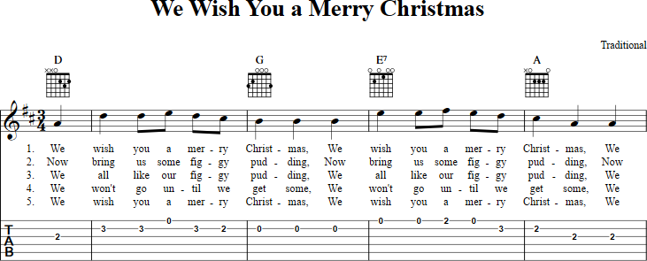 We Wish You A Merry Christmas Sheet Music For Guitar With Chords