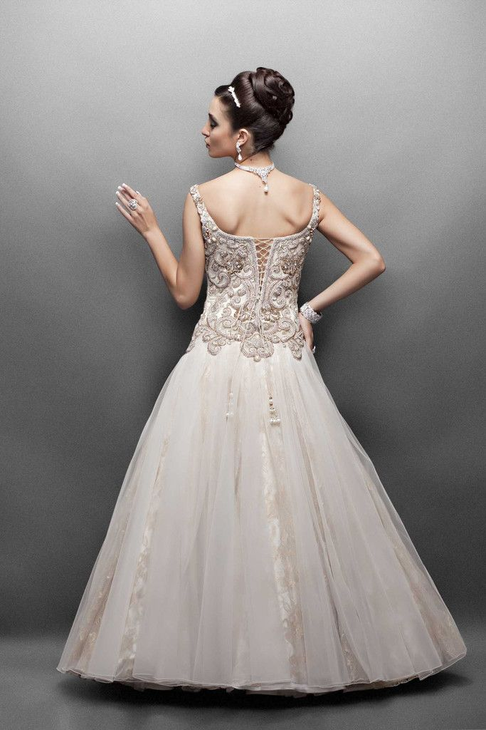 Offwhite color Indo western bridal gown
