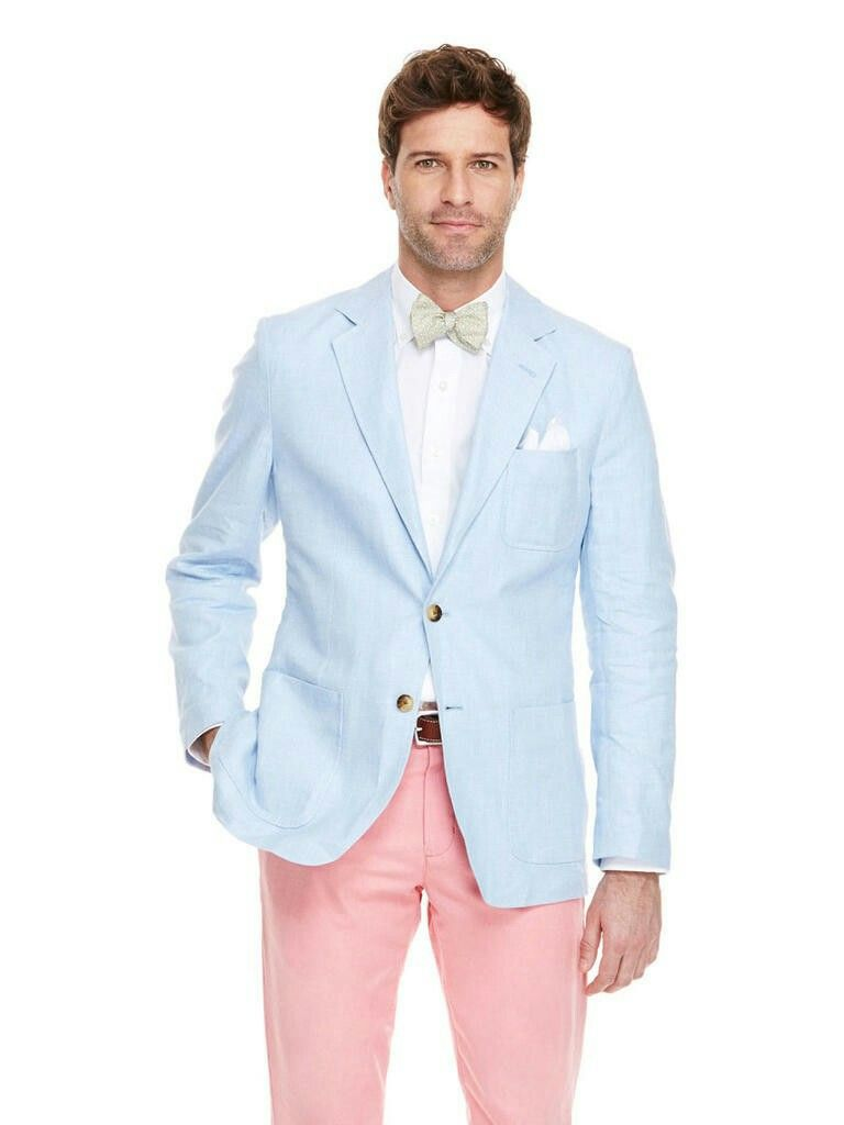 Men's Wedding Groom Suit Ideas Pink Trousers Light Blue Jacket ...