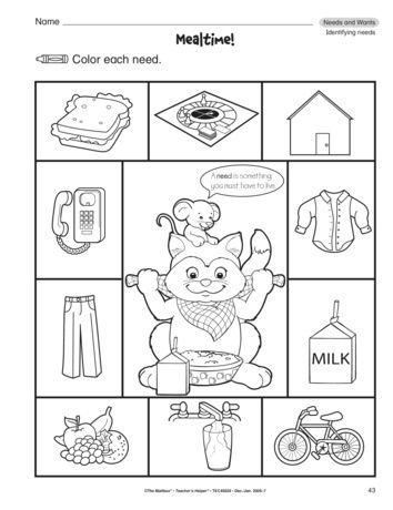 Mealtime Lesson Plans The Mailbox Kindergarten Worksheets Kindergarten Addition Worksheets Kindergarten Skills Free printable needsvs wants worksheet