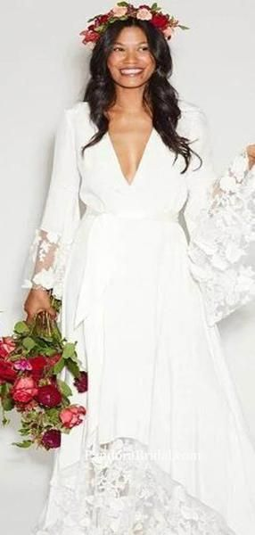 Boho Style VNeck Long Sleeve With Lace Wedding Dresses, 2019 Wedding Dresses, PD0754 - Bohemian wedding dress, Wedding dresses lace, Lace weddings, Christmas wedding dresses, Wedding dress styles, Wedding dresses - Boho Style VNeck Long Sleeve With Lace Wedding Dresses, 2019 Wedding Dresses, PD0754 The wedding dresses are fully lined, 8 bones in the bodice, chest pad in the bust, lace up back or zipper back are all available, total 126 colors are available This dress could be custom made, there are no extra cost to do custom siz