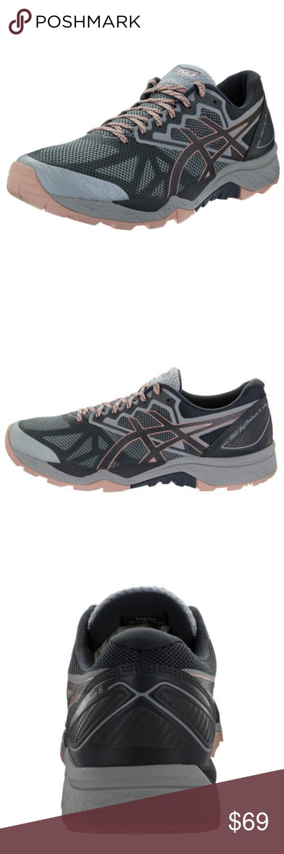 Grey ASICS GEL-Fujitrabuco 6  Athletic Running Trail Shoes Womens