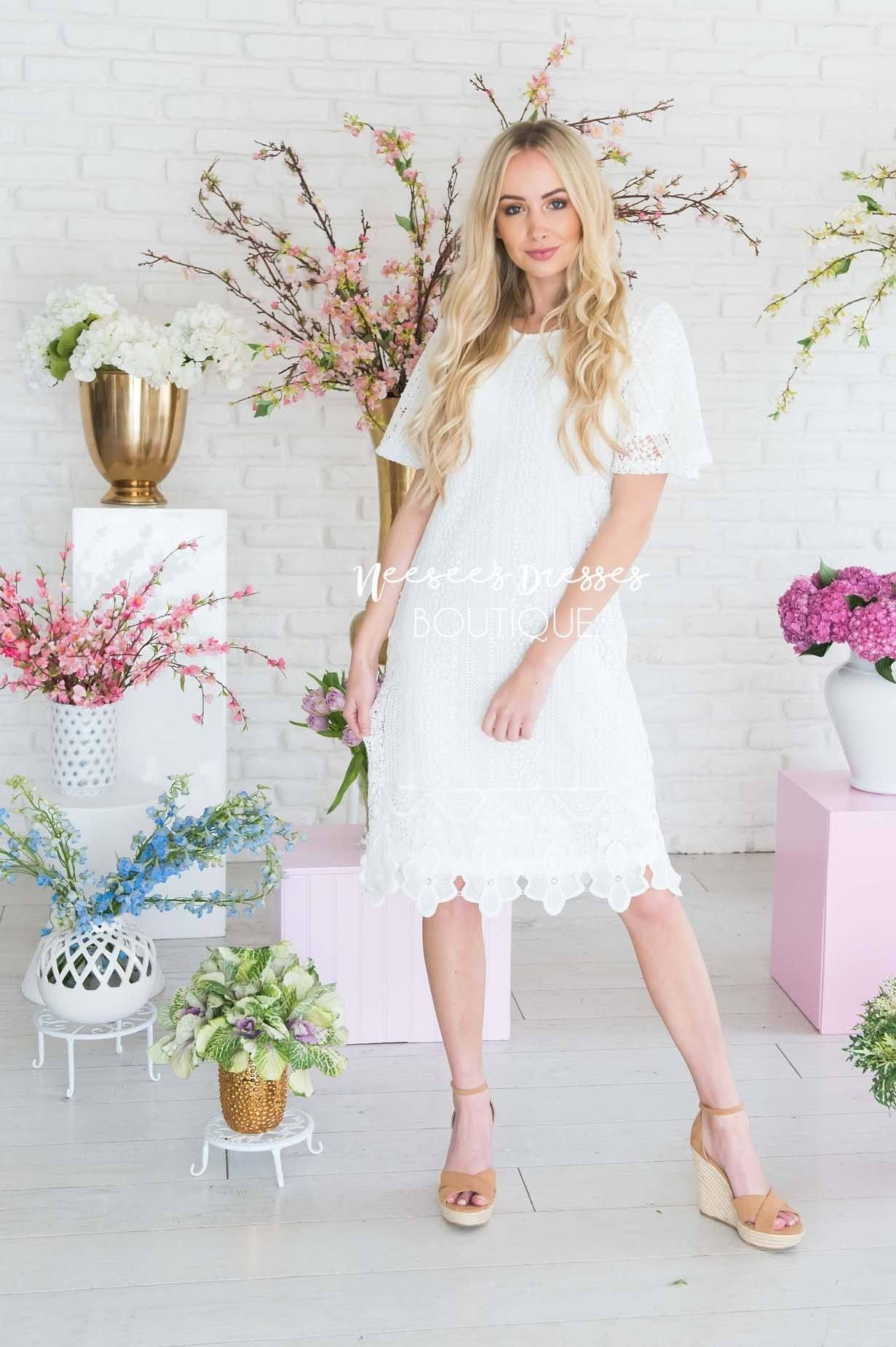 White Lace Overlay Modest Church Dress Best And Affordable Modest Boutique Cute Modest Dresses And Skirts Modest Dresses Short Sleeve Wedding Dress Dresses [ 1850 x 1231 Pixel ]