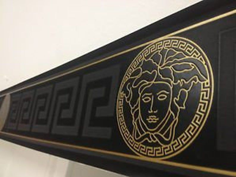Versace Home Collection Textured Wallcoverings Modern Embossed Vinyl Wall Border 3d Barocco Victorian Black Medusa Greek Key 93522 4 In 2021 Wallpaper Border Versace Wallpaper Versace Home