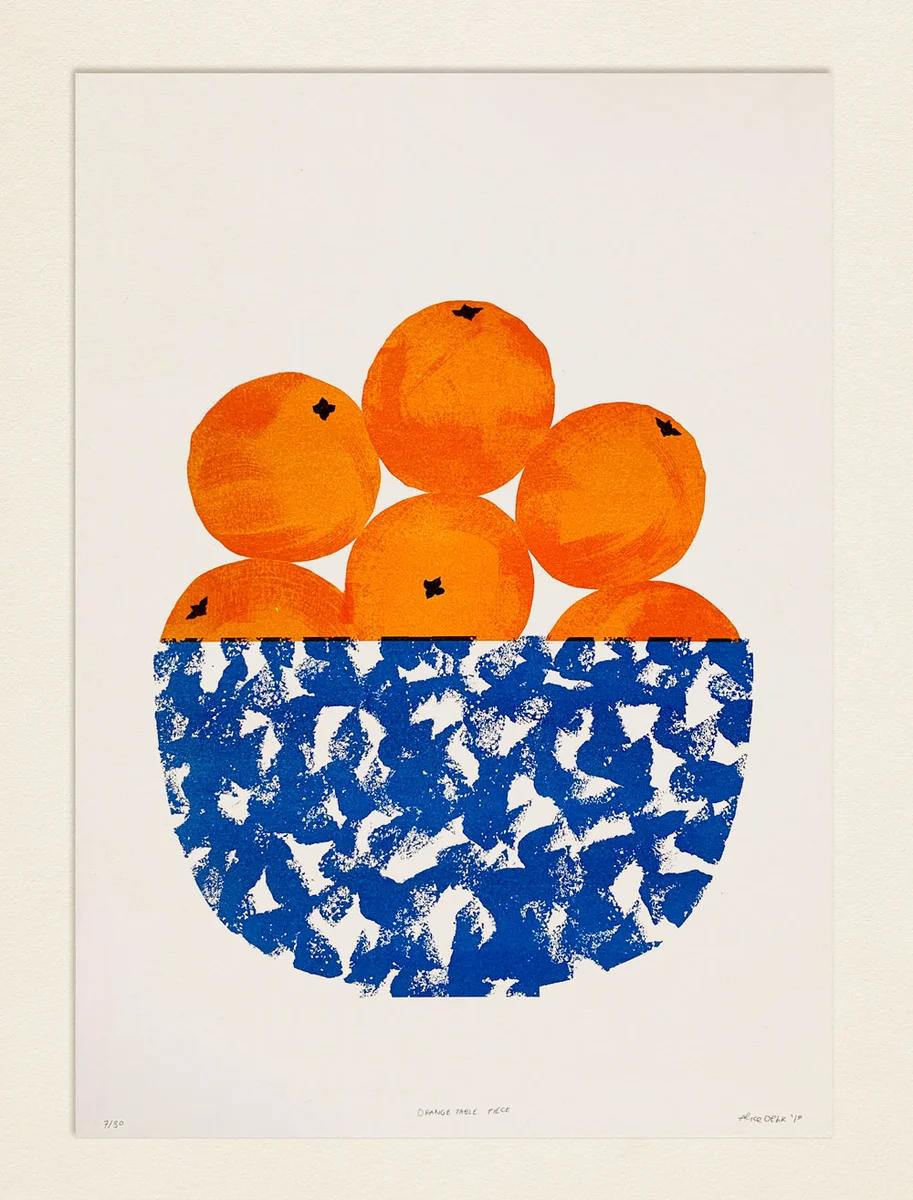 Orange Table Piece Risograph Print Graphic Art Art