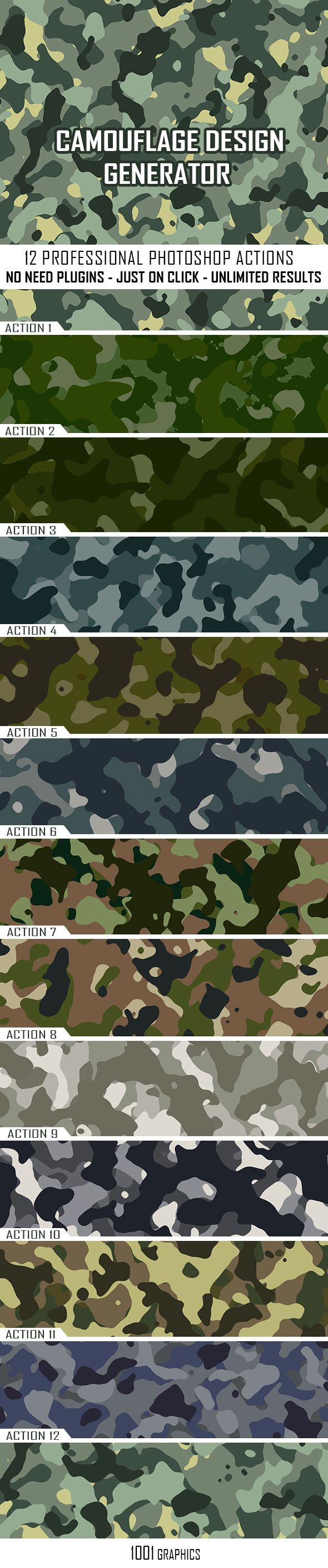 Camouflage Texture Generator - 12 PS Actions Vol 1