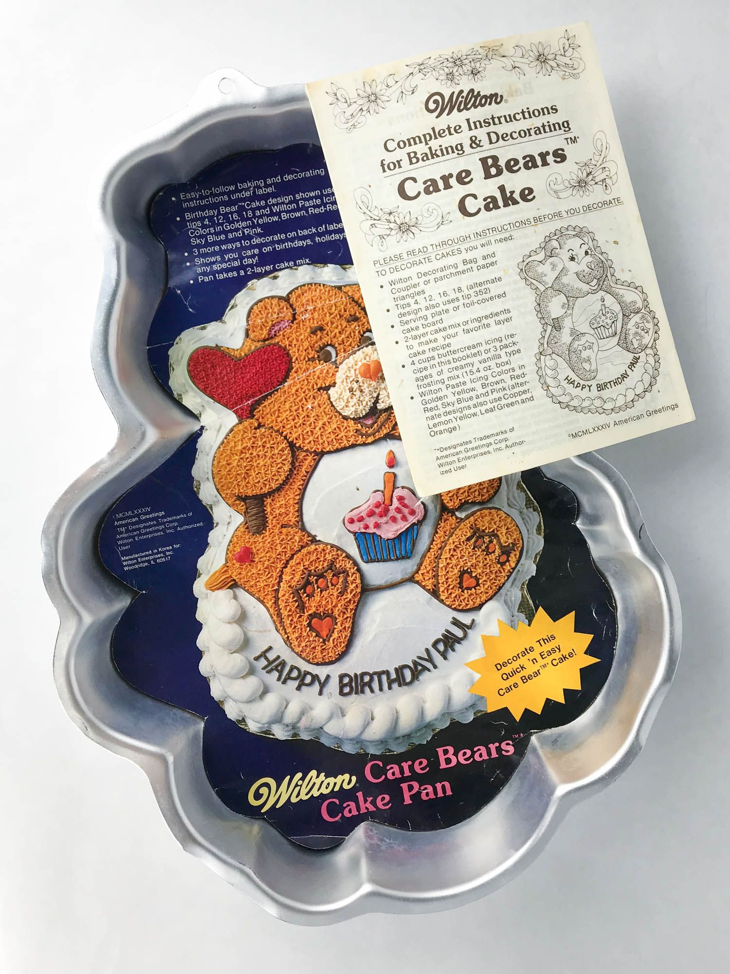 Fantastic Vintage Care Bears Birthday Bear 1983 Wilton Cake Pan With Funny Birthday Cards Online Barepcheapnameinfo