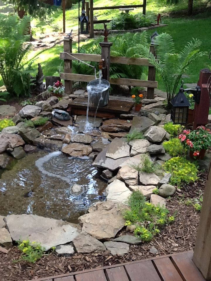 Love my pond. Garden water fountains, Fountains backyard