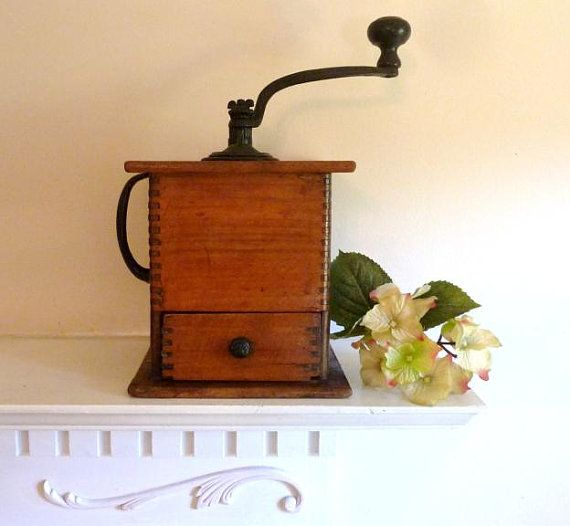 Vintage Wooden Coffee Grinder  Wooden and Cast by atopdrawer, $50.00