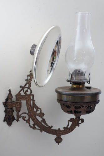 Antique-Cast-Iron-B-H-1881-Swinging-Bracket-Wall-Oil-Lamp-W ...
