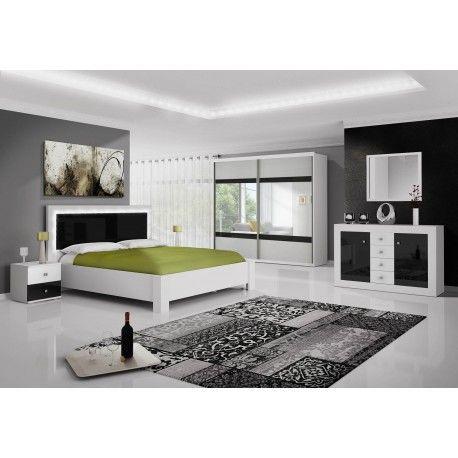 Chambre Complete Roma Noir Et Blanc Avec Led Pas Chere Chambres