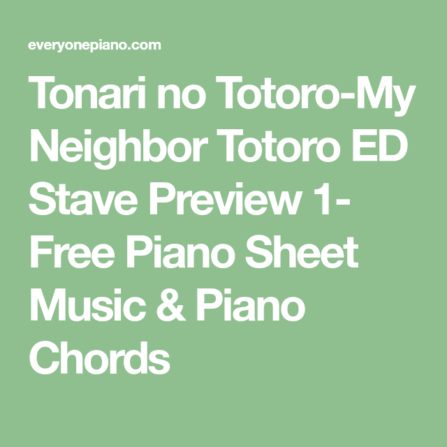 Tonari No Totoro-My Neighbor Totoro ED Stave Preview 1