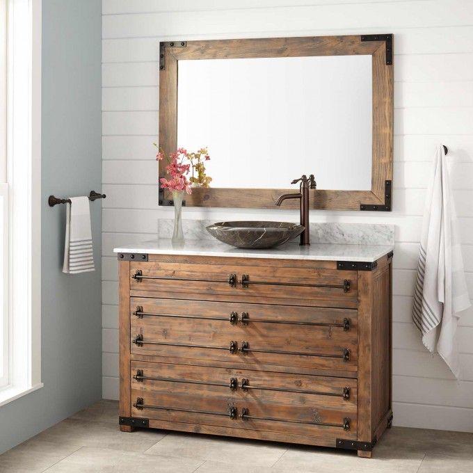 48 Quot Bonner Reclaimed Wood Vessel Sink Vanity Gray Wash