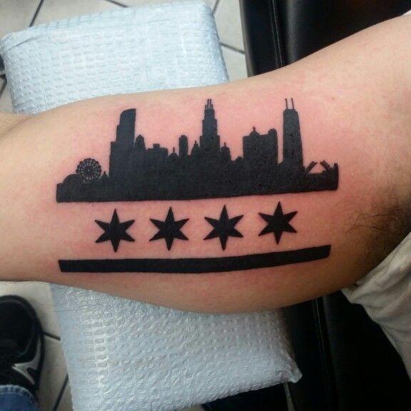 Chicago Skyline Tattoo Chicago Flag Tattoo Chicago Skyline