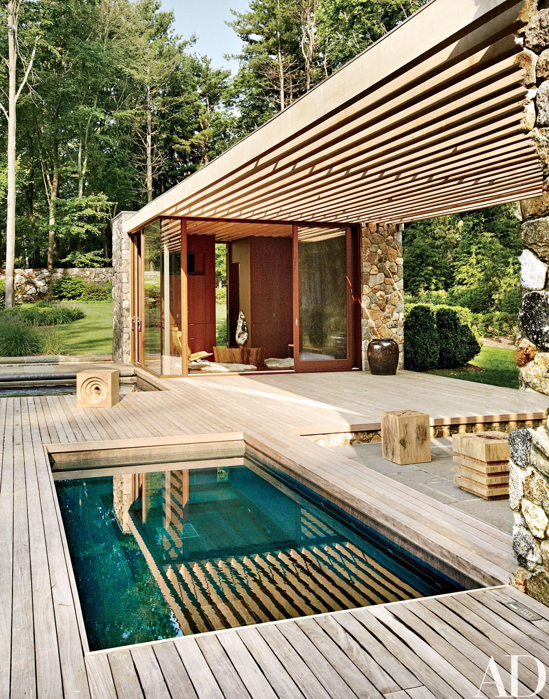 Tour A Contemporary Connecticut Poolhouse Architectural Digest Pool House Designs Swimming Pool Designs Pool Houses