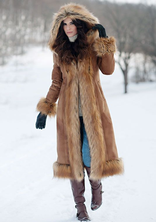 Suede coat with fur trim – Modern fashion jacket photo blog