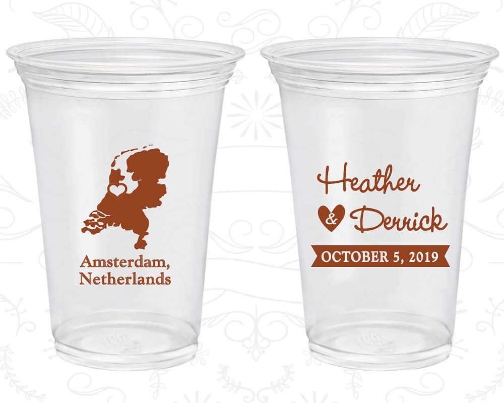 Netherlands Wedding Promotional Clear Cups Destination Plastic Amsterdam