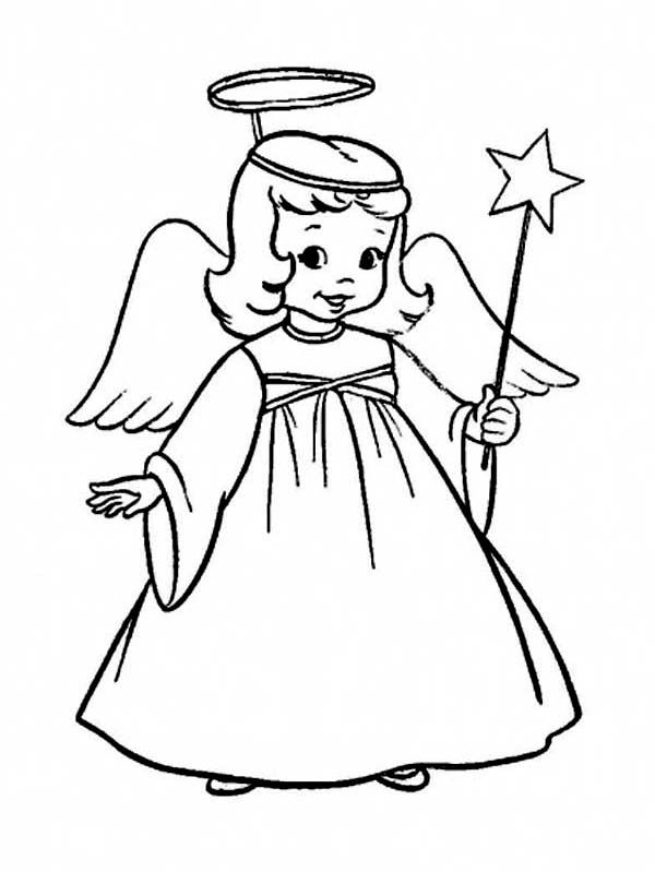 Christmas A Charming Little Girl In Angel Costume On Coloring Page