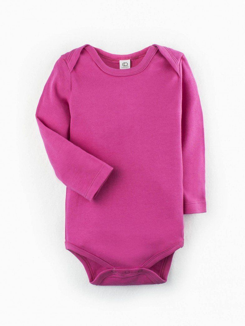 8e9a11034 Simple, bright, comfy, 100% organic cotton! This long-sleeved onesie from  Colored Organics has 3 snaps on the bottom and lap sleeves for easy  changing.