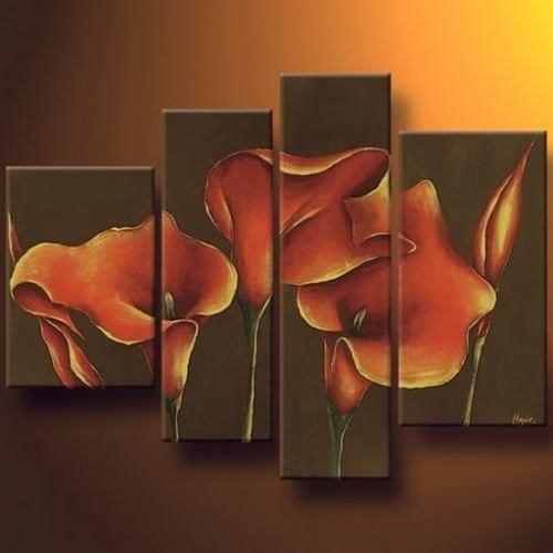 cuadros modernos flores abstractos decoracion pintados mano