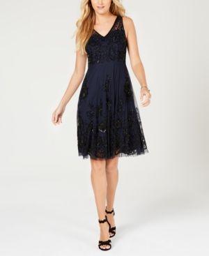 Adrianna Papell Petite Beaded A Line Dress NavyBlack 12P