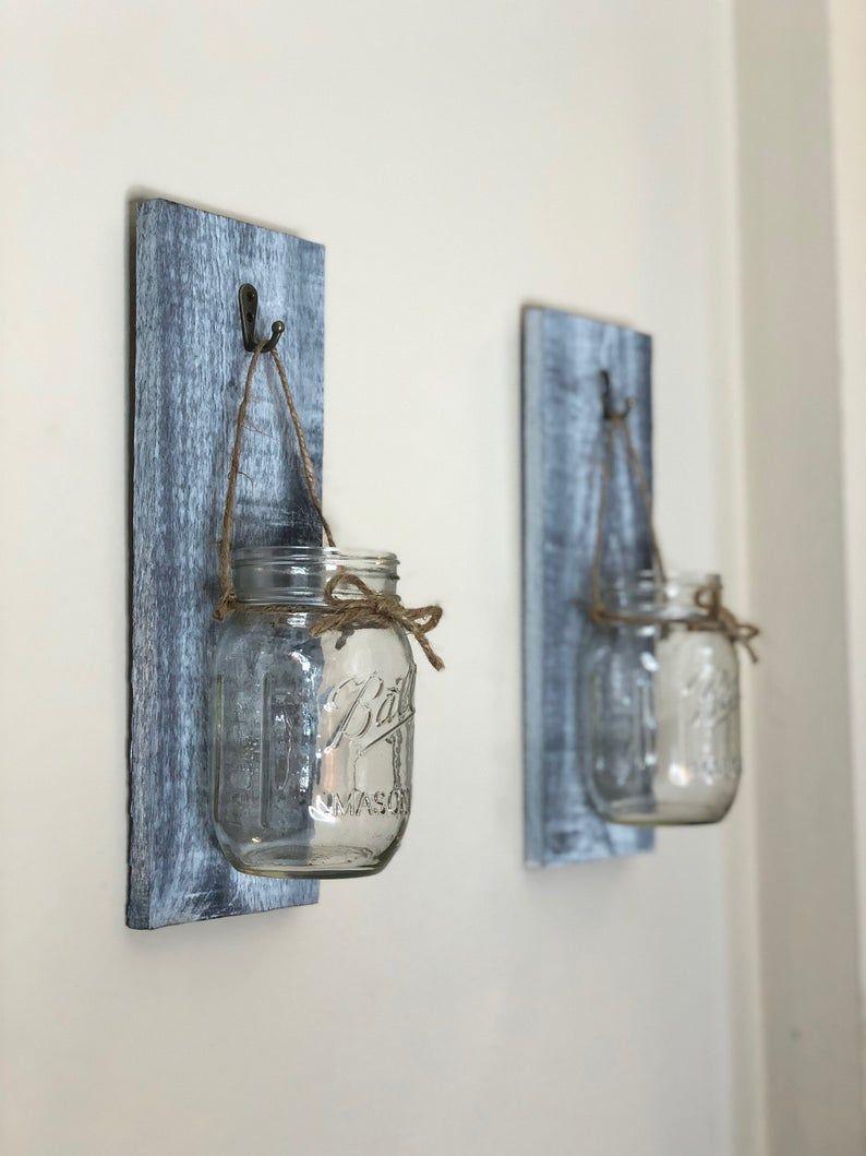Set of 2 mason jar lantern, Lantern, mason jar wall decor, Wall Scones, bathroom wall decor, living room decor, kitchen decor,