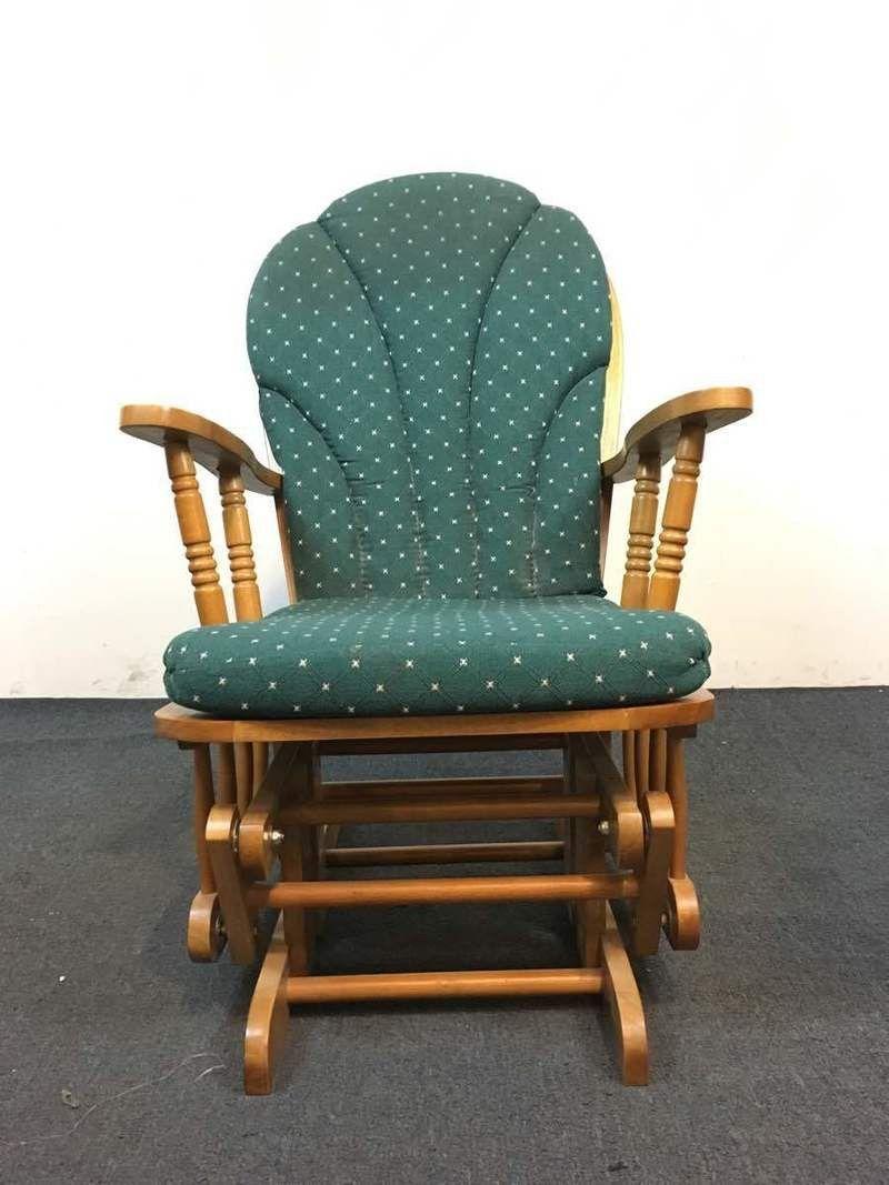 Vintage carved oak upholstered glider chair products vintage and
